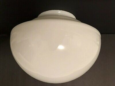 "Vintage Round White Milk Glass Shade SchoolHouse Town Hall Style   6"" Fitter"