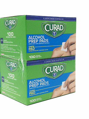 2 Packs- Curad Alcohol Thick Prep Pads 100 Ct- Excellent Cleansing 200 Ct Total