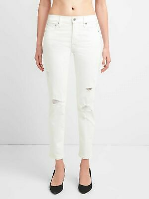 NWT**Gap High Rise Slim Straight Jeans*White** Distressed**Sz 25 (0)**256525