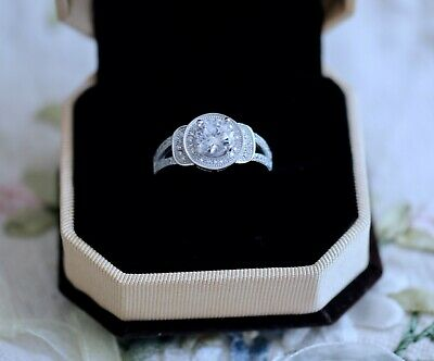 Antique Jewellery Ring With White Sapphires Vintage Dress Jewelry size L 6