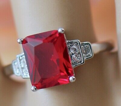Art Deco Antique Jewellery Ring Ruby White Sapphires Vintage Jewelry size Q1/2