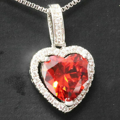 4 Ct Heart Red Ruby Necklace Halo Pendant Women Jewelry 14K White Gold Plated