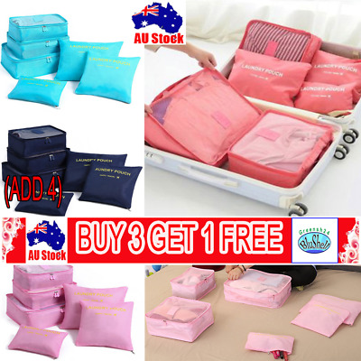 6Pcs Packing Cube Travel Pouch Luggage Organized Clothes Suitcase Storage Bag G