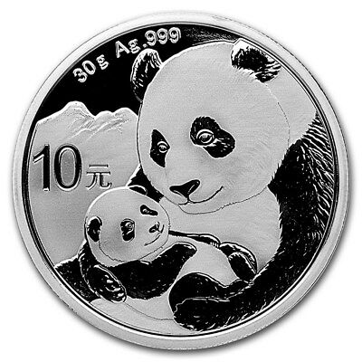 2019 China Panda 10 Yuan 30 gram .999 silver bullion coin in Mint capsule