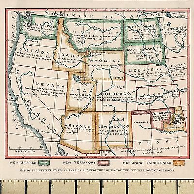 c1860 VICTORIAN MAP ~ WESTERN STATES ~ NEW & REMAINING TERRITORIES ~ new states
