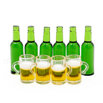 6pcs Green Beer Bottles with 4 Beer Mugs Set 1:12 Miniature Kitchen Dollhouse