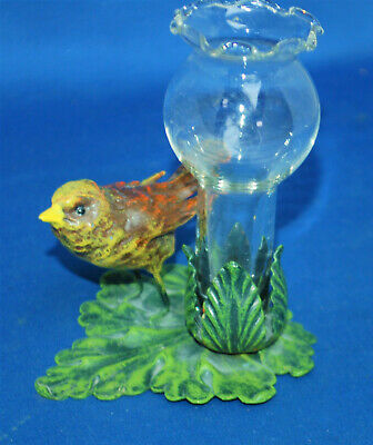 An antique cold painted metal bird figure epergne, Edwardian