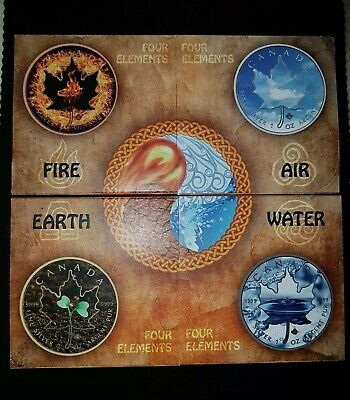 MAPLE LEAF-FOUR ELEMENTS SERIE - FIRE, AIR, EARTH, WATER - JE 1oz 999 SILBER/BU