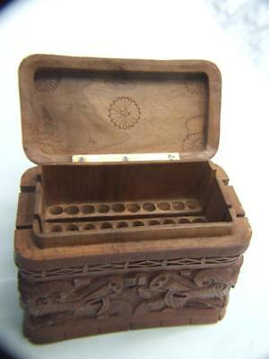 Antique Chinese Cigarette Box Carved Wood Designed  w Dragons Vintage