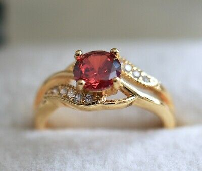 Antique Jewellery Ring Ruby White Sapphires Vintage Deco Dress Jewelry sz O1/2