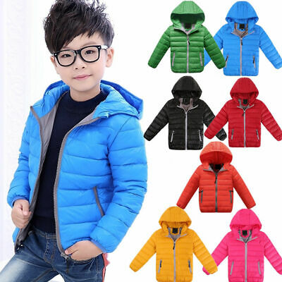 Winter Boys Girls Kids Duck Down Snowsuit Hooded Warm Quilted Puffer Coat Jacket