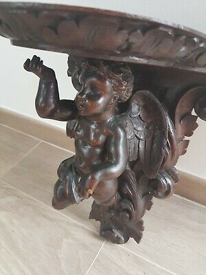 French Antique Carved wood Cherub/Winged Angel shelf Support / console