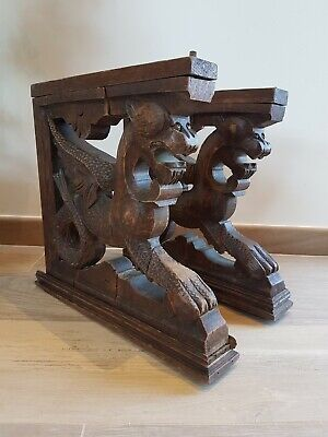 Pair Carved wood winged griffin architectural salvage corbels mounts pediments