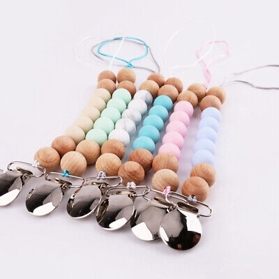 Silicone Beads Dummy Clip Beech Wooden Teething Pacifier Chain Soother Holder