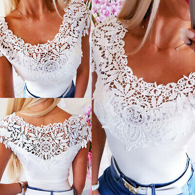UK Womens Lace Crew Neck Blouse Tops Sexy Ladies Summer Casual Slim Fit T Shirt