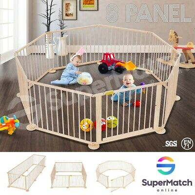 Wooden Pet Kids Baby Playpen Foldable & Removable 8 Panel- Burlywood