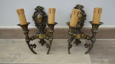 Pair Vintage French Style Ornate Bronze Wall Lights / Candle Sconces