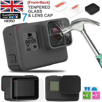 Gopro Hero 5/6/7 LCD Clear Screen Protector Film Tempered Glass Lens Cap/Cover