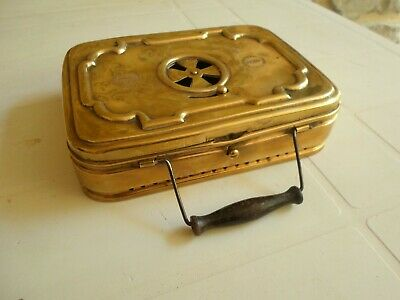 Antique Brass French Lyon STOKER Foot Warmer Carriage Chaufferette Heater