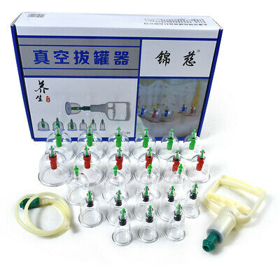 24 Cups Chinese Vacuum Cupping Set Kit Massage Acupuncture Suction Massager