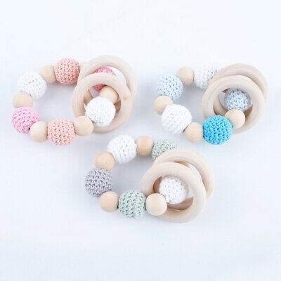 Round Crochet Wooden Beads Baby Sensory Wood Ring Teething Bracelet Rattles Toys