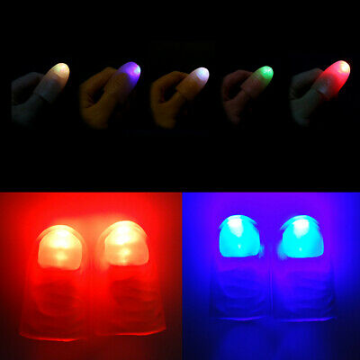 2Pcs LED Magic Light Up Silicone Thumb Props Fingers Trick Lights Prank Novel