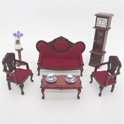 Dollhouse Furniture Mini Sofa Set Mini Living Room Kids Pretend Play Toys Parts