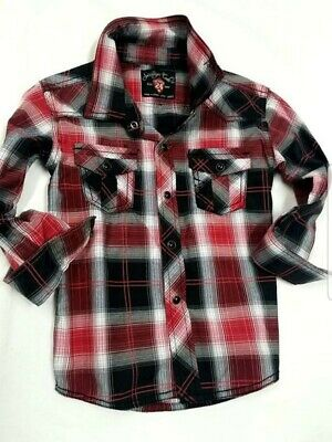 SOVEREIGN CODE Boys Long Sleeve Dress Shirt 24 month/ 2T Button Up Red Plaid