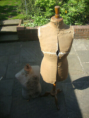 Antique pair tailors mannequin bodies and stand, need restoration AF