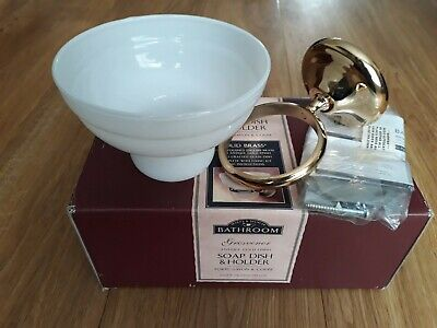 Antique Gold Finish Solid Brass Soap Dish Holder with Glass Dish