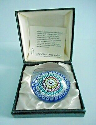 Stunning Boxed Whitefriars Glass Paperweight With Monk Date Cane 1976. (#1)