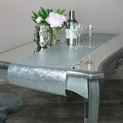 Silver glitter table runner dining wedding table home decor accessories gift