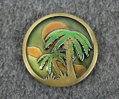 Vintage 70's 1977 Palm Trees Sunshine Beach Indiana Metal Craft Belt Buckle
