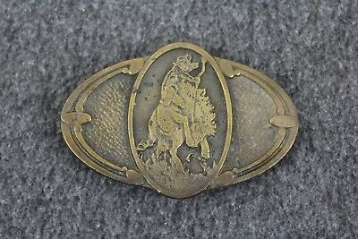 Vintage 70's 1975  Cowboy Riding Western Themed CDC Metalworks Belt Buckle