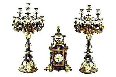 Spectacular Antique French 8 Day Sevres Panel Ormolu Clock Set For A Nurses Fund