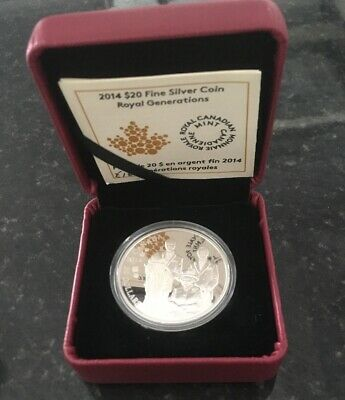 CANADA 20 DOLLARS 2014 ROYAL GENERATIONS .999 FINE SILVER PROOF COIN Boxed & CoA