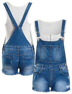 Dungaree Shorts Stretch Denim Blue Girls Age 7 8 10 12 14 16 Years Playsuit