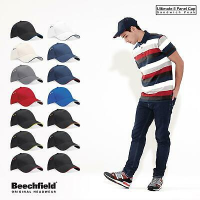 Beechfield Mens Womens Ultimate 5 Panel Cap Sandwich Peak Baseball Cap Hat BC15C