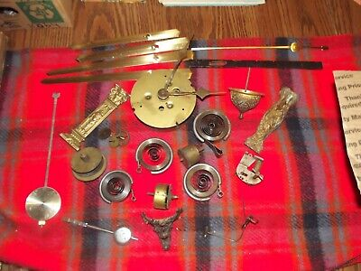 Lot of Vintage Clock Parts Mainsprings Trim Hands Movements Dome Top