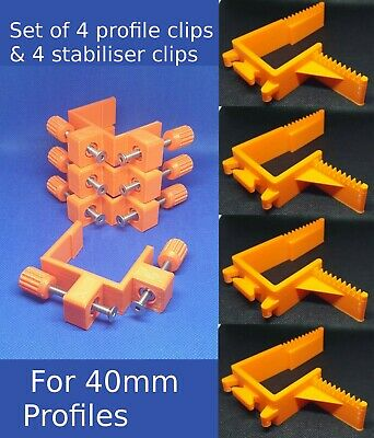 40MM BUILDING PROFILE SET offset Clips stabilisers Brick laying wall line holder