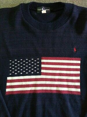 07bea18dc Vtg Polo Ralph Lauren Men s L  XL USA American Flag Navy knit sweater Pony