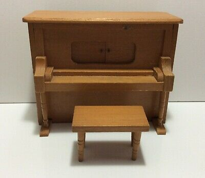 Wooden Music Box - vintage - with bench