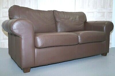 Brown Leather Two Seat Sofa In Very Good Condition
