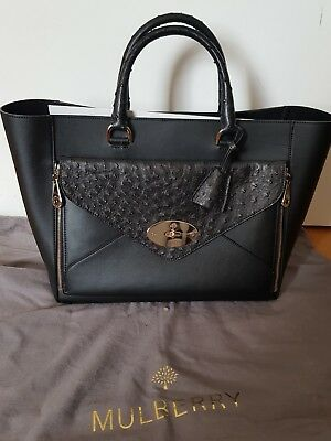 a2bf9c6b50 BNWT Mulberry Willow Tote Large Bag Black Ostrich Leather RRP £2,500 exotic