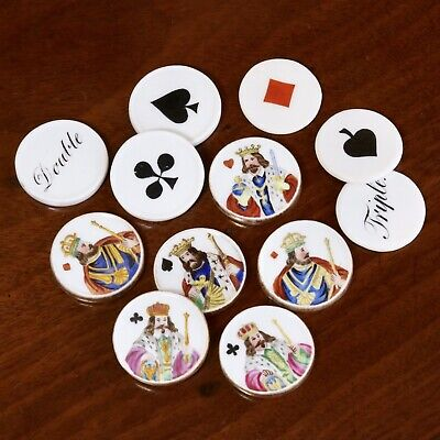 Collection Of Twelve Antique Porcelain Whist Markers Or Gaming Counters, c.1850.