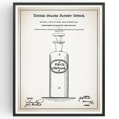 Pharmacy Display Bottles Patent Print Medicine Decor Vintage Poster Wall Gift