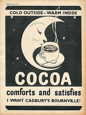 1954 Cadbury's Bournville Cocoa Classic Full Page Vintage Magazine Advert