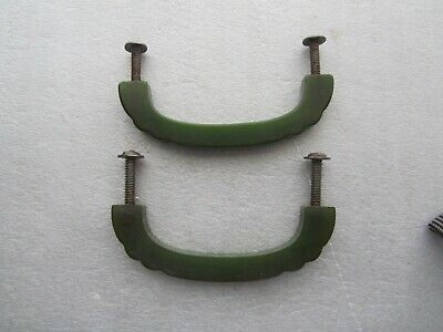 "Pair Vintage 3"" Green Bakelite Drawer Handle Pull w / Screws"