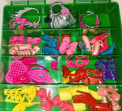 Barbie Doll accessories lot 40+ Items shoes, bags, Jewelry, Glasses, Hair Access