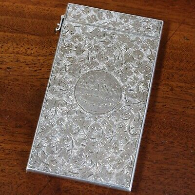 An Antique Victorian Sampson Mordan Silver Calling Card Case, London 1886.